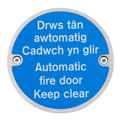 Automatic Fire Door Keep Clear Fire Sign - Bi-Lingual - Welsh/English - Pack of 10